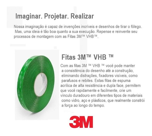 kit 4 fita dupla face 3m vhb transparente 12mm x 20m