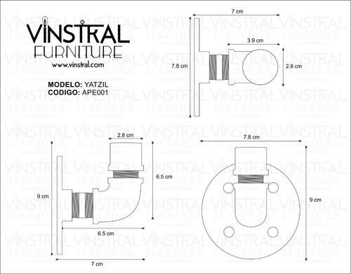 kit 4 gancho perchero pared toalla acero vintage industrial