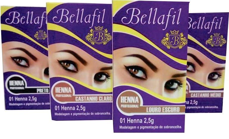 Kit 4 Hennas Para Sobrancelhas 2 5g Bellafil R 73 00 Em Mercado