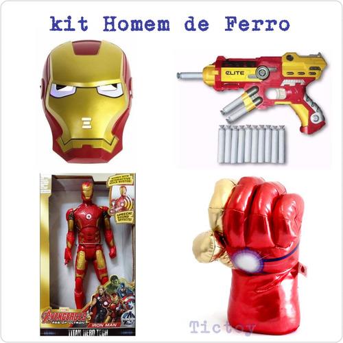 kit 4 / homem de ferro marvel + luva + pistola + mascara