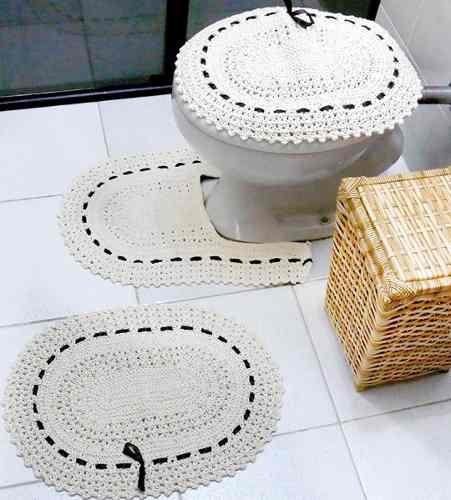 kit 4  jogo de banheiro em crochê barbante e porta papel