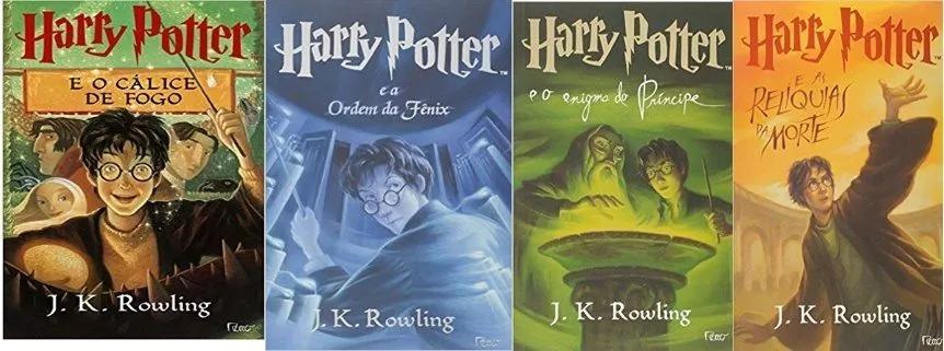 Kit 4 Livros Harry Potter 4 5 6 7