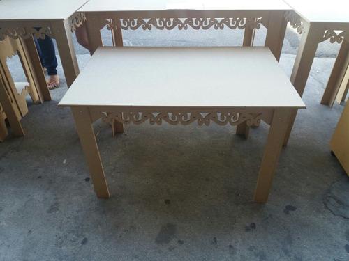kit 4 mesas provençal arabesco em mdf