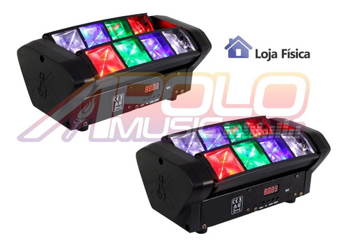 kit 4 moving spider 8 leds de 3w osram rgbw dmx somos loja