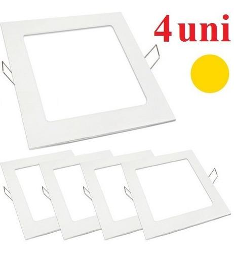 kit 4 painel paflon led embutir 20x20 18w luz amarela quente
