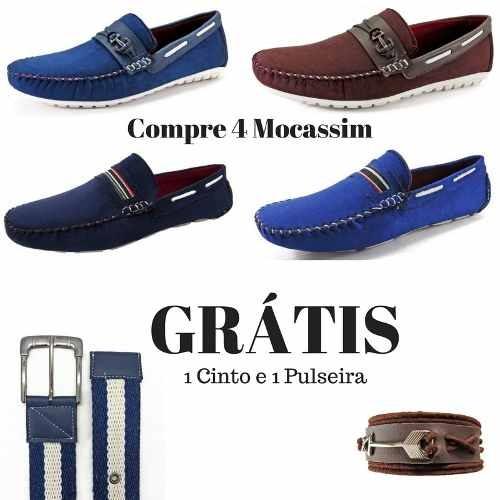 cbac57690f Kit 4 Pares Sapato Mocassim Masculino+1 Cinto+1 Pulseira - R  294