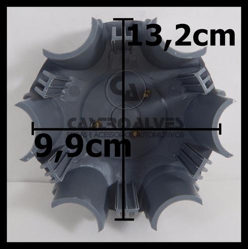 kit 4 pçs calota centro miolo roda hilux sw4 2014 prata