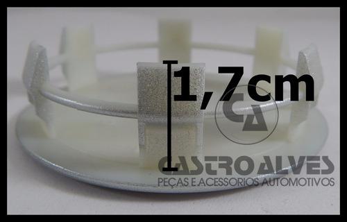 kit 4 pçs calota tampa miolo centro roda ford troller prata