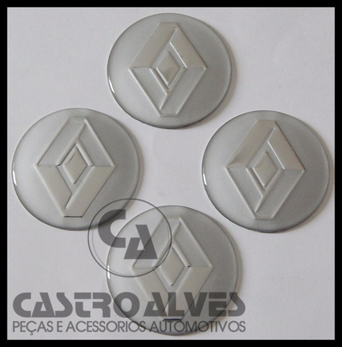 kit 4 pçs emblema ades calota roda renault prata 55mm /5,5cm