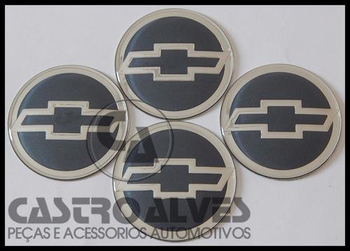 kit 4 pçs emblema ades roda gm orig 51mm/5,1cm prata/ cinza
