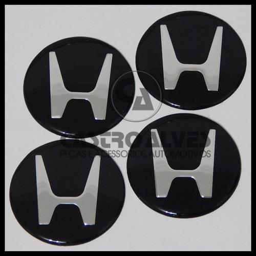 kit 4 pçs emblema adesivo honda p/ calota roda 117mm preto
