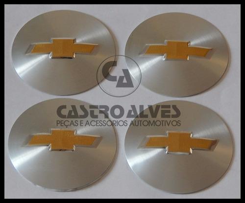 kit 4 pçs emblema adesivo  roda gm 55mm/5,5cm prata/dourado