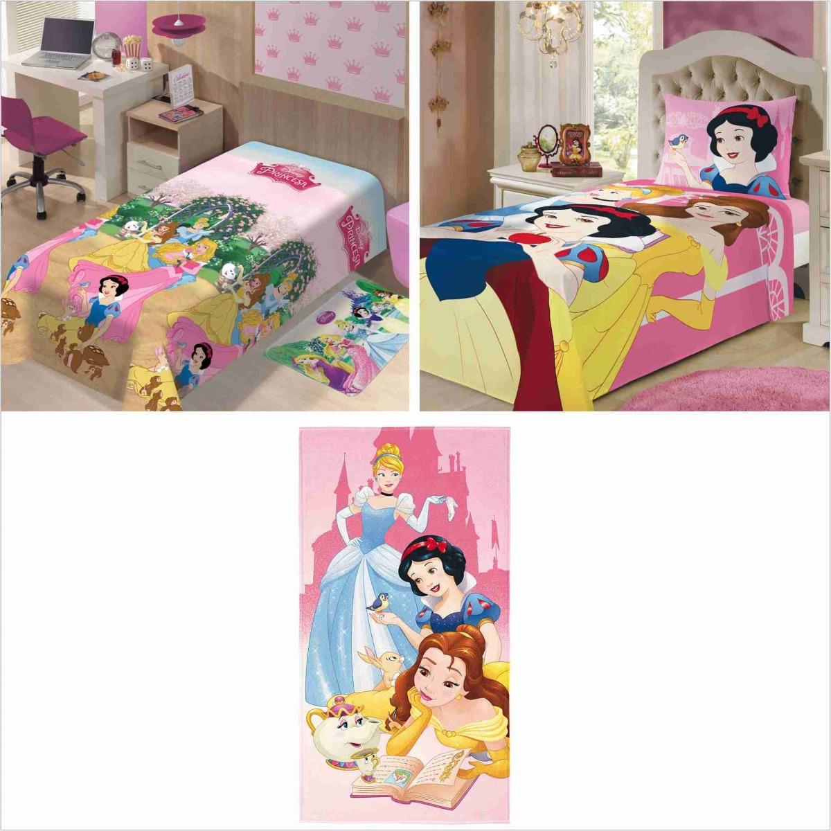 7f9d05c2de Kit 4 Pçs Manta+ Jogo Cama 2pç+ Toalha Princesas Disney - R  234