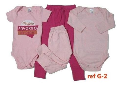 kit 4 peças body calça shorts bebê menino menina algodão 19k