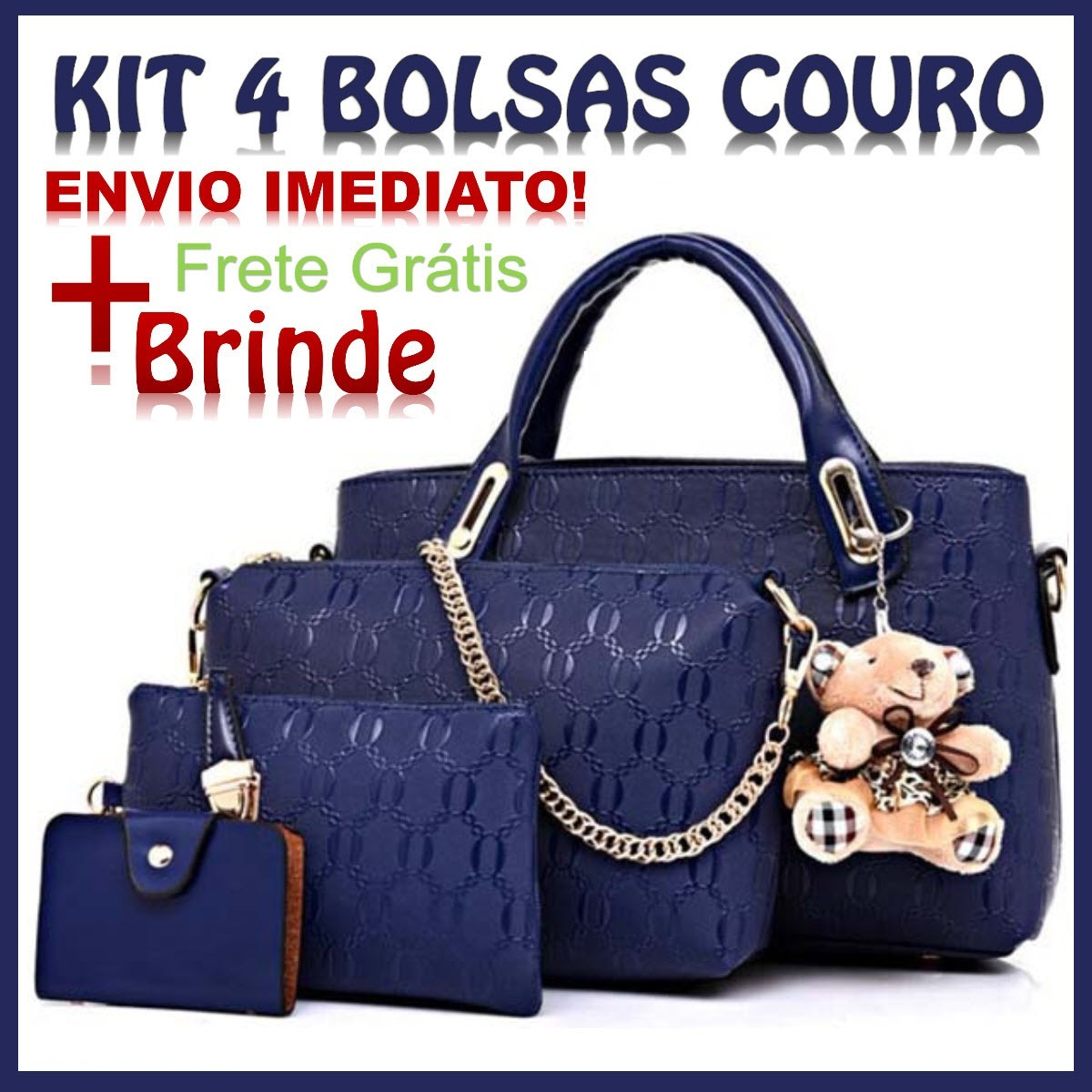 3a7d67bb2 kit 4 pecas bolsa feminina azul pu + brinde envio imediato. Carregando zoom.