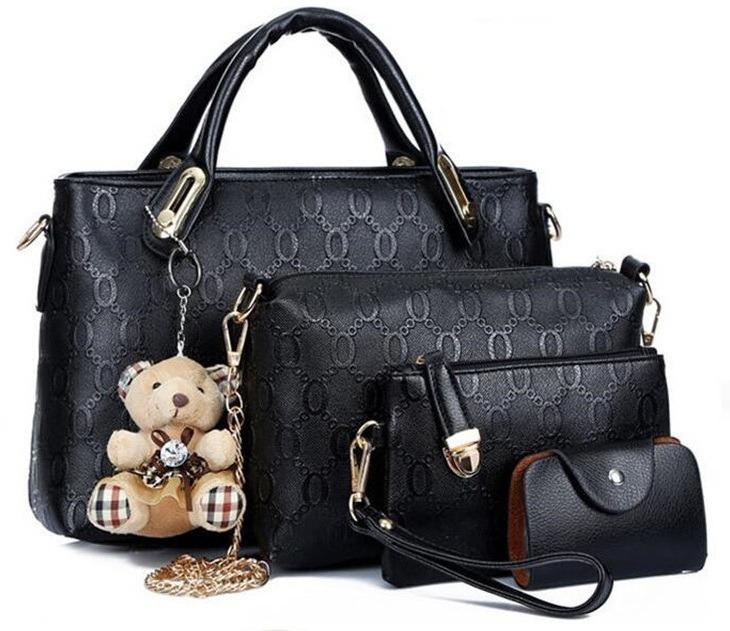 25c9881f8 Kit 4 Pecas Bolsa Feminina Couro Pu + Brinde Envio Imediato - R$ 134 ...