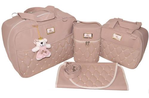 kit 4 peças bolsa maternidade rosê