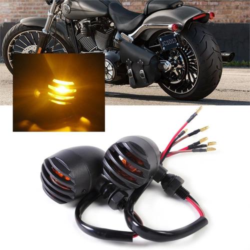kit 4 peças piscas bullet moto custom metal cafe racer