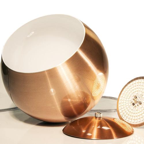 kit 4 pendentes meia bola aluminio cobre c/ led 25 cm