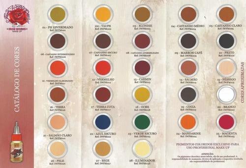 kit 4 pigmentos ironworks micropigmentação + brindes !!!!!
