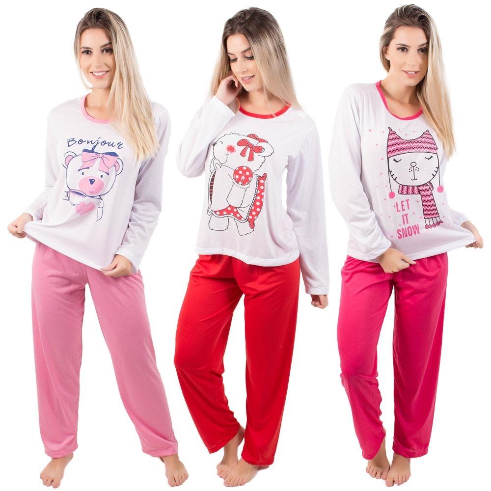 aa9068fb5 kit 4 pijama feminino longo adulto inverno manga longa blusa. Carregando  zoom.