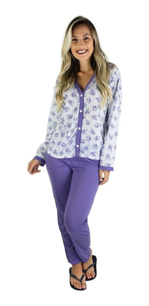 99cd8cfbb078cf Kit 4 Pijamas Longo Adulto Feminino Blusa Aberta Botões
