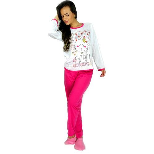 kit 4 pijamas longo adulto feminino blusa manga comprida