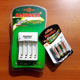 Kit 4 Pilhas Aa + Carregador Aa E Aaa ( Novos )