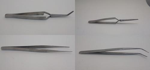 kit 4 pinça reta curva cruzada artesão ourives joalheiro