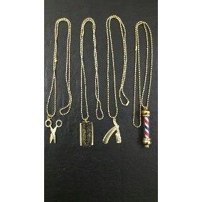 kit 4 pingentes com colar dourado barber, navalha, tesoura