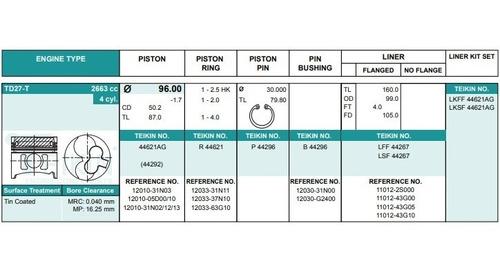 kit 4 pistones nissan td27t td42t turbo diesel +galeria lub
