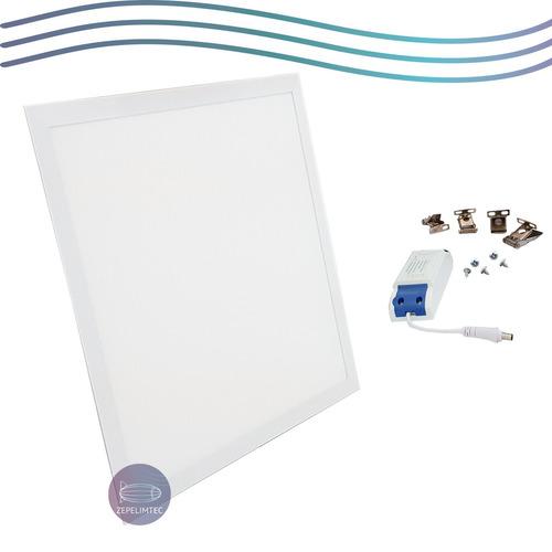 kit 4 plafon embutir painel led 60x60 50w slim quadrado frio
