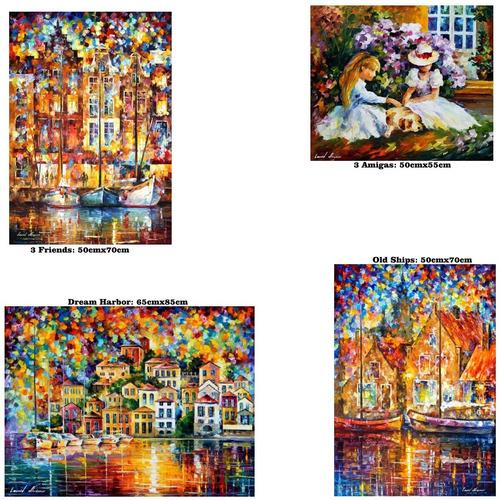 kit 4 posters foto hd leonid afremov ---- 4 obras de arte