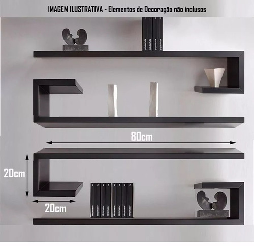 kit 4 prateleiras 80x20x 20cm profundidade mdf preto 15mm.