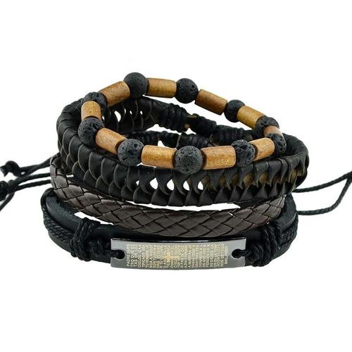 kit 4 pulseiras couro e madeira rústica