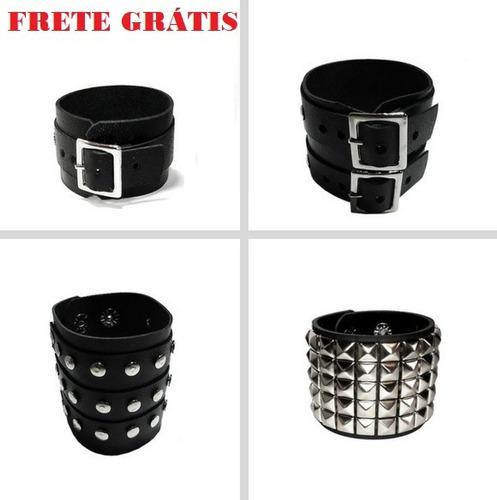 kit 4 pulseiras couro fivela metal punk rock motoqueiro emo
