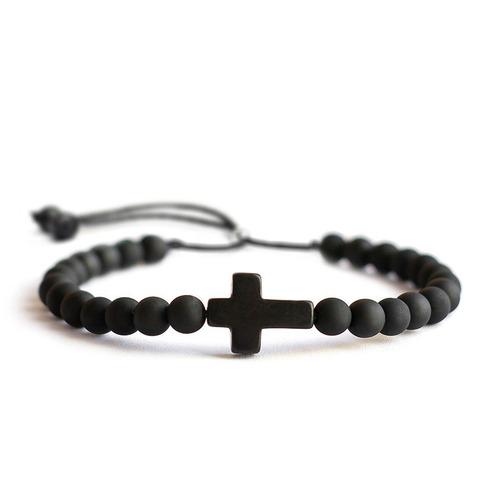 kit 4 pulseiras masculina feminina pedra couro terço cruz