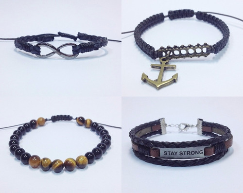 kit 4 pulseiras masculinas couro ancora infinito stay strong