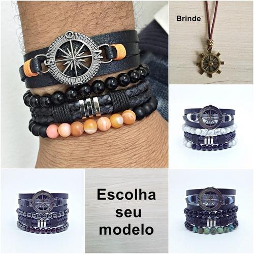 kit 4 pulseiras masculinas couro bussola e pedras naturais