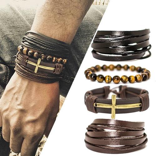 kit 4 pulseiras masculinas couro cruz pedras olho de tigre