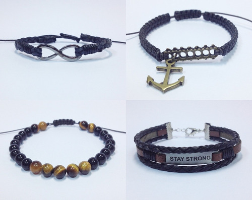 kit 4 pulseiras masculinas couro infinito ancora stay strong