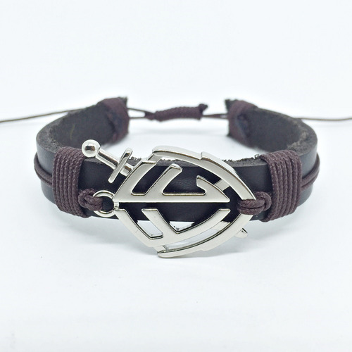 kit 4 pulseiras masculinas couro jesus escudo fe onix agata