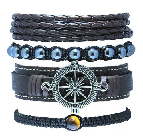 kit 4 pulseiras masculinas couro legitimo bussola