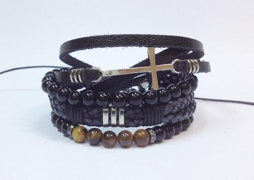 kit 4 pulseiras masculinas couro onix couro cruz