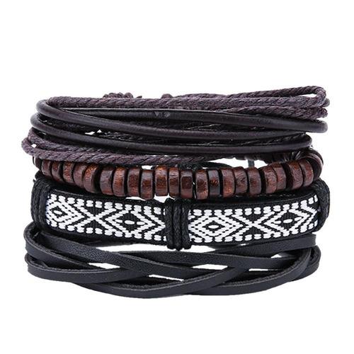 kit 4 pulseiras tibetana ajustavel couro madeira fibra #162
