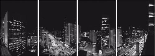 kit 4 quadro decorativo panoramico, cidade famosa, sala
