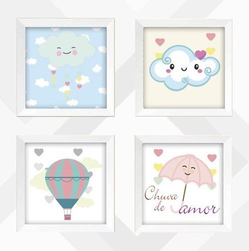kit 4 quadros decoração festa infantil quarto bebê amor