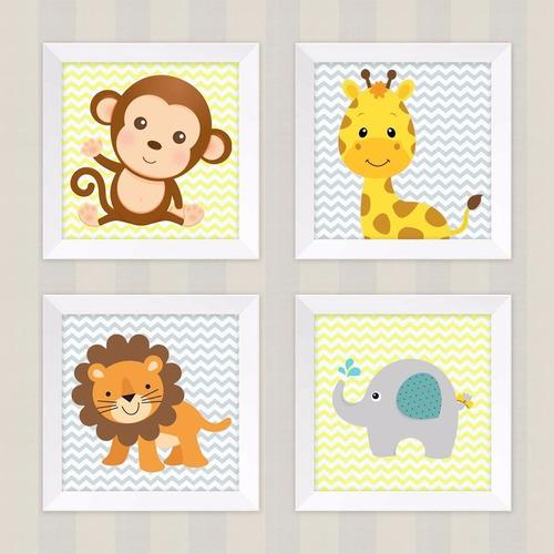 kit 4 quadros infantil quarto bebê