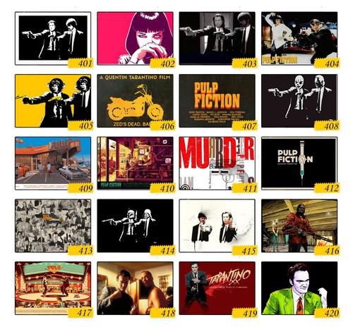 kit 4 quadros poster quentin tarantino filme pulp fiction a3
