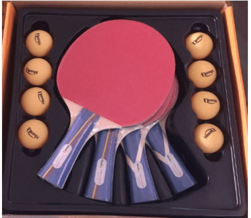 kit 4 raquetas + 8 bolas de ping pong paleta tenis de mesa